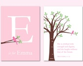 """Baptism Gift She Is Clothed With Strength and Dignity Scripture and Initial/Monogram Print Girl Nursery Decor - Set of two 5""""x7"""" prints"""