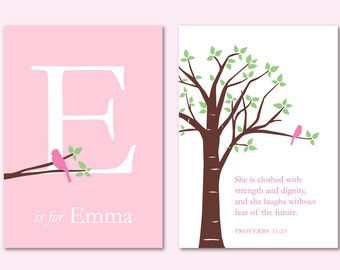"""Girl Baptism Gift, She Is Clothed With Strength and Dignity, Scripture Nursery Decor, Baby Girl Christmas Gift, Set of two 5""""x7"""" prints"""