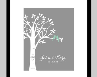 """Bridal Shower Gift Wedding Gift Family Tree Personalized Love Birds Family Tree or Paper First Anniversary Gift - 8""""x10"""" (You choose colors)"""