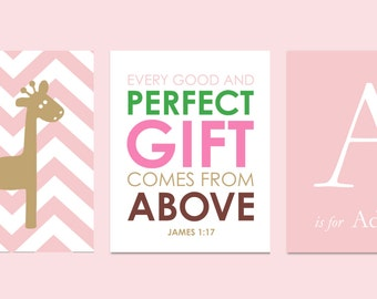 "Every Good and Perfect Gift Comes From Above Elephant Nursery Giraffe Chevron Nursery Scripture Print You choose Colors - 8""x10"""