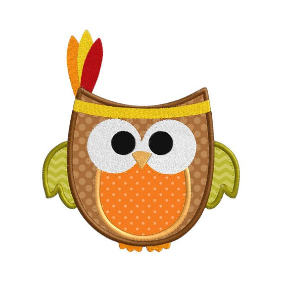 Thanksgiving Fall Indian Owl Individual Applique Machine