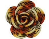 Large Animal Print Polymer Clay Flower Cabochons