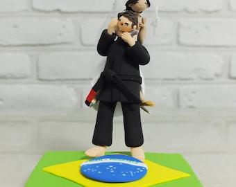 Brazilian jiu jitsu judo custom wedding cake topper decoration