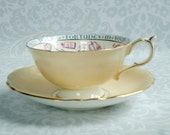 Paragon Teacup and Saucer in Pastel Peach - Vintage Fortune Telling Tea Cup and Saucer - Fortune Teller Tea Cup