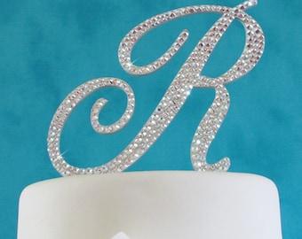 As Seen on TLC's Four Weddings - Monogram cake topper - Swarovski Crystal cake topper