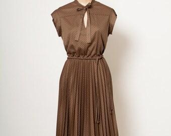 Vintage Dress / 70s 80s Dress / Secretary Dress / Polka dot / brown / Dress and Jacket / 70s dress/80s dress / Dresses / 80s print / 1980s