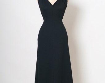 Vintage 70s Dress / size 12 / large / disco dress /  1970s Black maxi / Goddess /