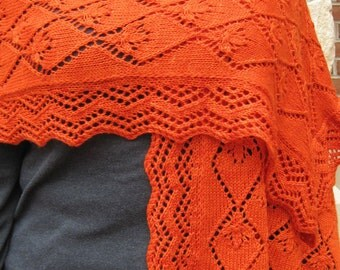 Knit Shawl Pattern:  Mandarin Lace Shawl Knitting Pattern