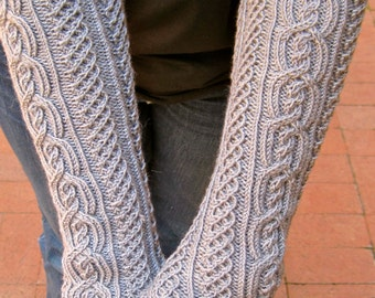 Knit Mitt Pattern:  The Galway Long Fingerless Mitt Knitting Pattern