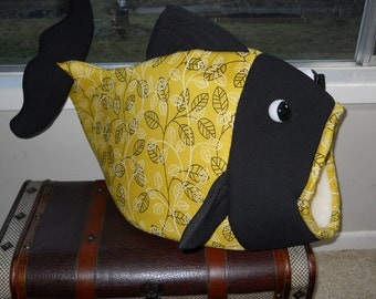 Fish Shaped Pet Bed Almost Chartreuse with twisted leave pattern