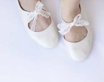 Love - Ivory handmade leather ballet flats - CUSTOM FIT