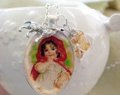 Hand crafted Little Red Riding hood vintage illustration, or custom wolf  pendant picture choice in glass pendant necklace