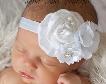 White Baby headband, baby headbands Christening Headband,baptism headband,Newborn Headband, baby headband, Easter Headband, Baby Hair Bows.