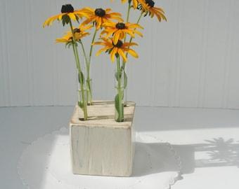 Test tube Bud vase, MADE TO ORDER,White washed wood block, flower vase, small vase