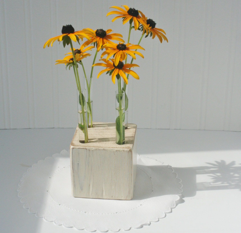 Test tube bud vase made to orderwhite washed wood by for Test tube vase
