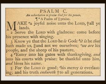 Antique Bible Page - Psalm 100 - Make a Joyful Noise - Digital Download Printable  for Papercrafts, Transfers, Pillows, Scrapbooks, etc