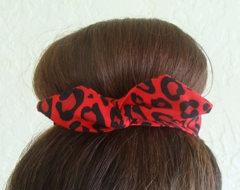 Bun Wrap, Top Knot Wire Wrap Red Cougar Print