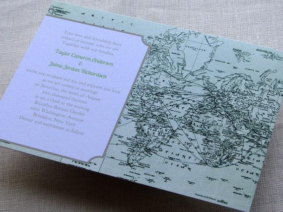 Items Similar To DIY Vintage Map Wedding Invitation Green