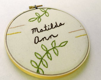 Personalized Child's Name Embroidery Hoop Wall Art. 5 inch. Fern Leaf. Baby Shower Gift. New Baby.  Nursery Art. Gift for New Mother.