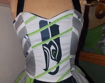 Seattle Seahawks Pin Up Dress custom made to order sweetheart ruffled halter mini dress