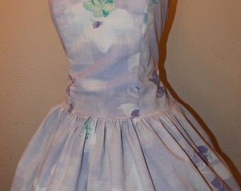 Strapless Purple Floral Custom Made to Order Sweet Heart Pin UP Mini Dress