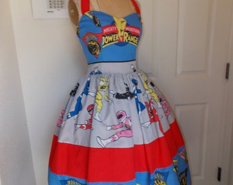 Custom made to order Mighty Morphin Power Rangers Sweetheart Ruffled Halter Mini Dress for Nhavlovic