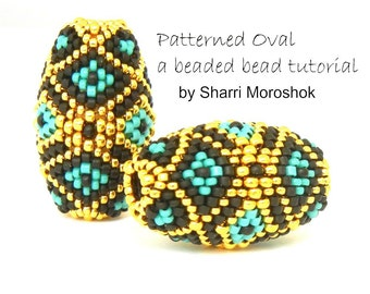 Patterned Oval Beaded Bead Tutorial - instant download pdf pattern