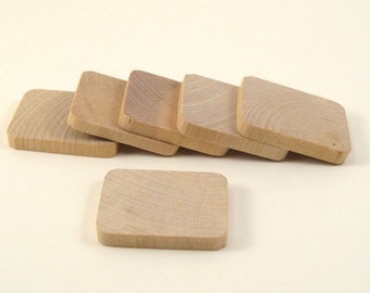 50  Wooden Rectangle Tiles - 1 3/8 Inch x 1 Inch Wood Rectangles Unfinished for Crafting