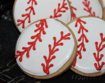 1 dozen Baseball sugar cookies