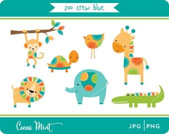 Zoo Crew Blue Clip Art