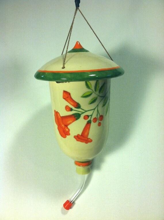 Trumpet Vine Wheel Thrown Hand Painted Hummingbird Feeder