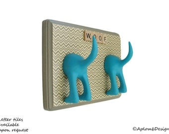 Dog Tail Leash Holder - Double Grey Chevron - Personalize it with optional letter tiles