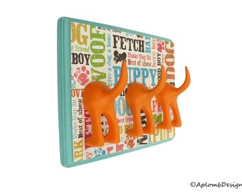 Dog Leash Holder - Triple Tail - Dogcentric - Personalize with Optional Letter Tiles