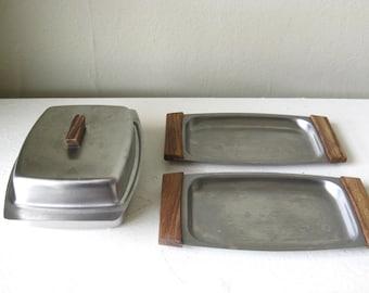 1960s Vintage Mid Century Scandinavian Stainless Appetizer Service Set