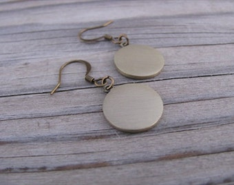 Brushed Gold Coin Earrings
