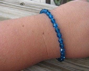 Layering Bracelet- Faceted Blue Beaded Bracelet