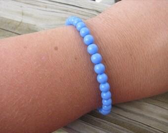 Layering Bracelet- Periwinkle Blue Beaded Bracelet