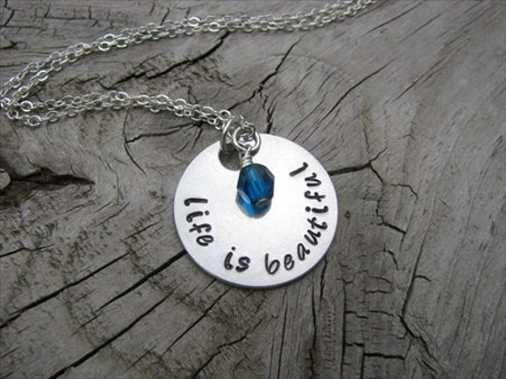"Inspiration Necklace- ""life is beautiful"" with an accent bead in your choice of colors- Hand-Stamped Jewelry"