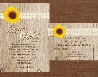 sunflower wedding invitation  etsy, invitation samples