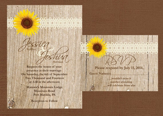 Rustic Western Wedding Invitations: Items Similar To DIY Rustic Wedding Invitation, DIY