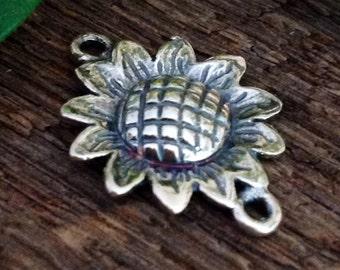 Sterling Silver Sunflower Connector - Flower Bracelet Component -  Link r  18mm -  L121