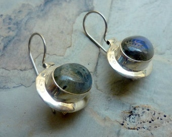 Sterling Silver Earrings, Labradorite Stone Earrings, Labradorite Natural Gemstone, Ellipsoidal Silver Earrings, Ellipse Labradorite Earring