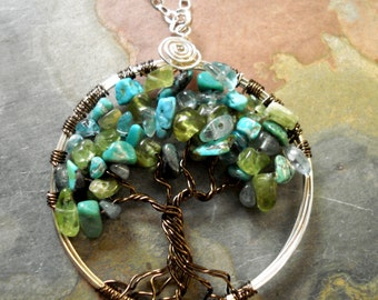 Tree of Life Pendant Necklace - Wire Wrapped Tree of Life Turquoise/Apatite/Peridot Gemstone-December Birthstone
