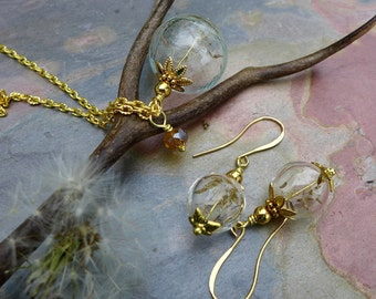 Dandelion Necklace, Real Dandelion Gold  Necklace and Earring SET - Make a Wish Gift, Birthday Gift, Wish Gift