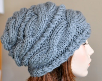 Slouchy Hat Slouch Beanie Women Hat Cable Hand Knit Winter  Women Teen CHOOSE COLOR Gray Grey Silver Chunky Hand Knit Gift