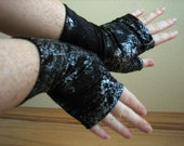 Fingerless Gloves - Black with Silver Paint - Steampunk - Burning man - Festival fashion