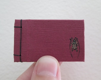 Very Tiny Beetle Book - Side Bound Hardcover Handmade Blank Book with Beetle Art