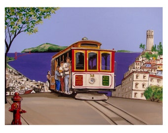 San Francisco Street Cable Car, Red Fire Hydrant, Coit Tower, Original Artist illustration, Limited edition Wall Art, Free Shipping in USA.