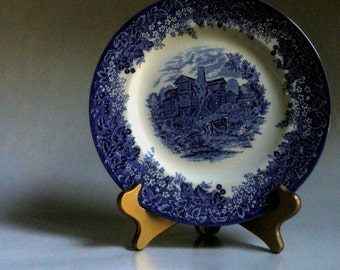 WEDGWOOD Transferware plate, Made in England, blue and white