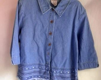 Women's Cotton DENIM top / shirt, size 10 Petite, embroidery details